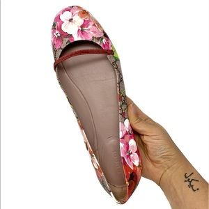 GUCCI Pink GG Blooms Floral Logo Ballet Flat Sz 40